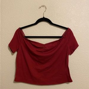 Mossimo Burgundy Off-Shoulder Crop Top